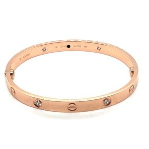 Cartier 18k rose gold 4 diamonds bracelet